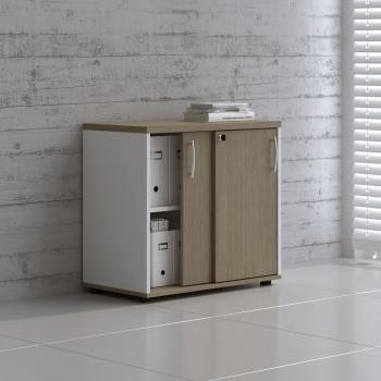 Sliding Doors Storage Unit A2P04, White + Canadian Oak