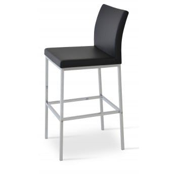 Aria Chrome Bar Stool, Black Leatherette by SohoConcept Furniture
