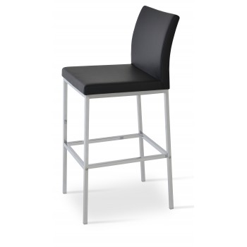 Aria Chrome Counter Stool, Black Leatherette by SohoConcept Furniture
