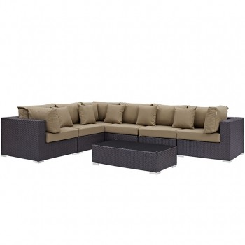 Convene 7 Piece Outdoor Patio Sectional Set, Сomposition 4,Espresso, Mocha by Modway