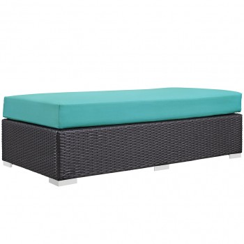 Convene Outdoor Patio Fabric Rectangle Ottoman, Espresso, Turquoise by Modway