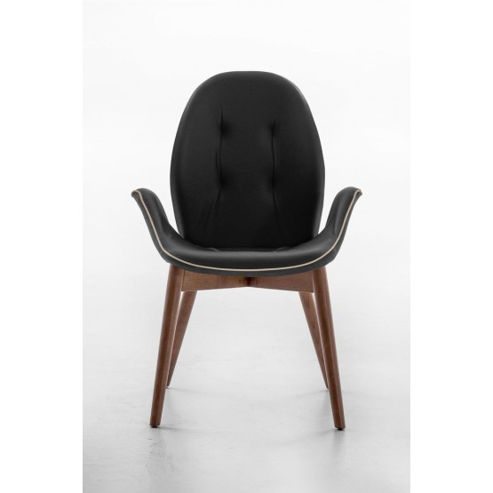 Sorrento Dining Arm Chair, Canaletto Walnut Wood Base, Black Leather Upholstery, Dove Grey Сreasing photo