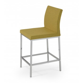 Aria Chrome Counter Stool, Amber Camira Wool by SohoConcept Furniture