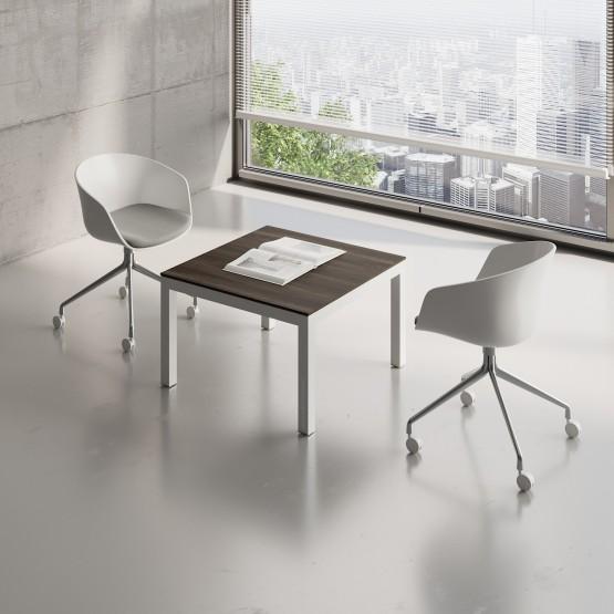 Impuls Small Table IM57, White Pastel + Chestnut photo