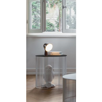 Andra Side Table, Matt White Metal Base, Acid-Etched Black Glass Top