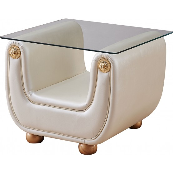Giza Fabric End Table, Beige photo