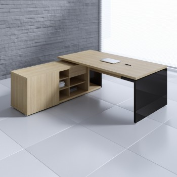 Mito Executive Desk w/Managerial Side Storage MIT1, Light Sycamore + Black High Gloss