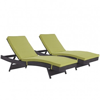 Convene Chaise Outdoor Patio, Set of 2, Espresso, Peridot by Modway