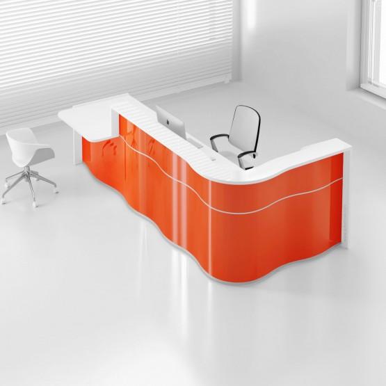 Wave LUV481P Reception Desk, High Gloss Orange photo