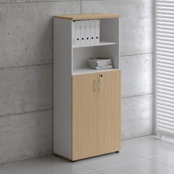 Basic K5304 2-Door Storage, White + Beech
