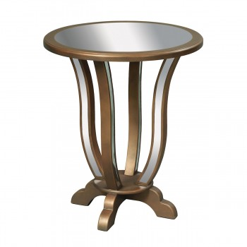 Manama End Table In Clear Mirror And Gold Leaf