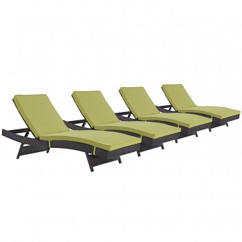 Convene Chaise Outdoor Patio, Set of 4, Espresso, Peridot by Modway