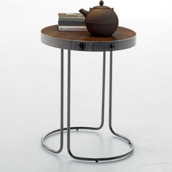 Cora Side Table, Black Chrome Metal Base, Canaletto Walnut Wood Top