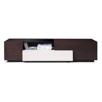 015 TV Stand, Brown Oak + Grey Gloss by J&M Furniture