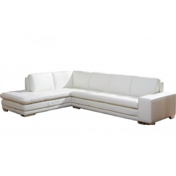 Block Sectional, Left Arm Chaise Facing, White