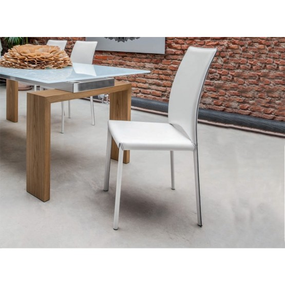 Madeleine Standard Dining Chair with Contrast Stitching, White Thick Leather photo