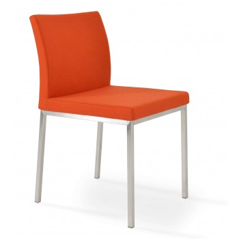 Aria Dininng Chair, Stainless Steel Base, Orange Camira Wool by SohoConcept Furniture