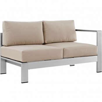 Shore Right-Arm Corner Sectional Outdoor Patio Aluminum Loveseat, Silver, Beige by Modway