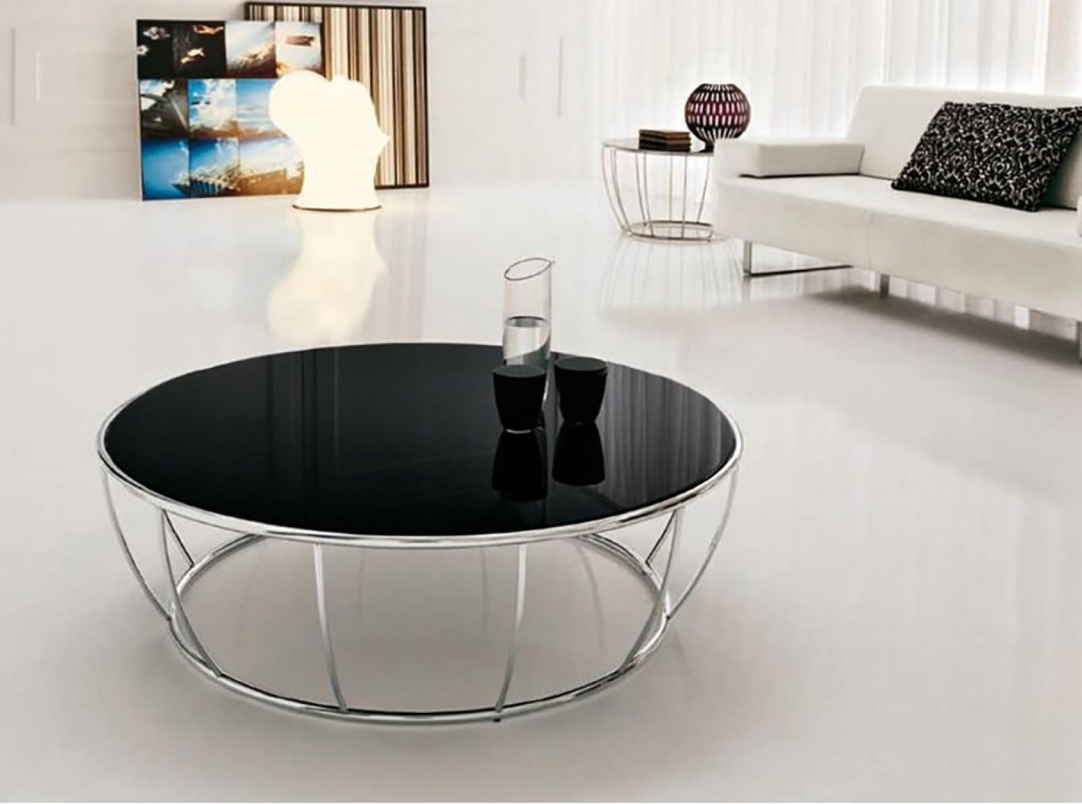 Amburgo Large Coffee Table Chromed Metal Base Black Glass Top