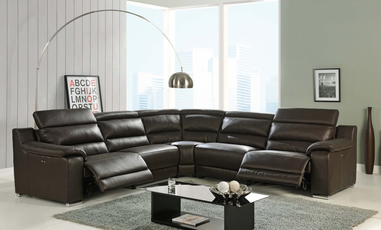 Picture of: Elda Reclining Sectional Sofa Brown Buy Online At Best Price