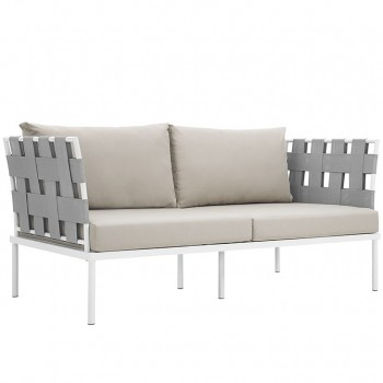 Harmony Outdoor Patio Aluminum Loveseat, White, Beige by Modway
