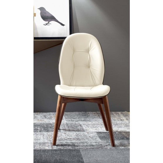 Sorrento Dining Chair, Canaletto Walnut Wood Base, Cream Leather Upholstery, Dark Brown Creasing photo
