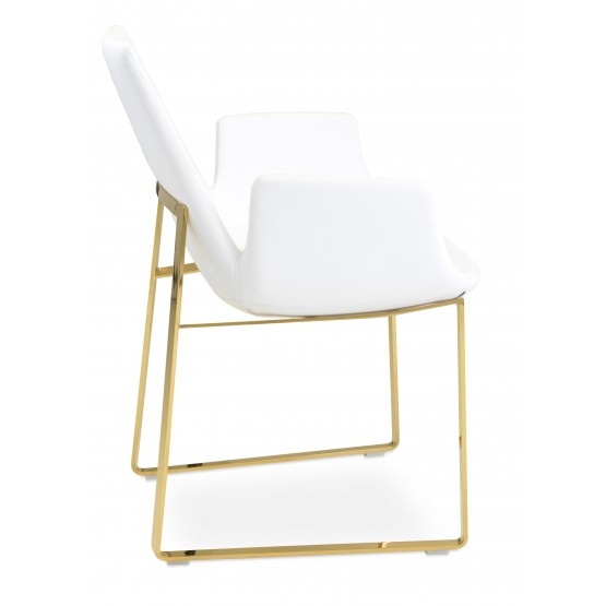 Eiffel Arm Sled Chair, Gold Brass, White PPM photo