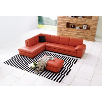 625 Italian Leather Sectional, Left Arm Chaise Facing, Pumpkin by J&M Furniture