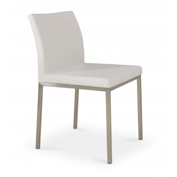 Aria Dininng Chair, Stainless Steel Base, White PPM  by SohoConcept Furniture