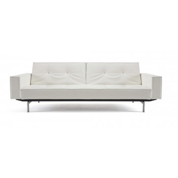 Splitback Sofa Bed w/Arms, 588 Leather Look White PU + Stainless Steel Legs