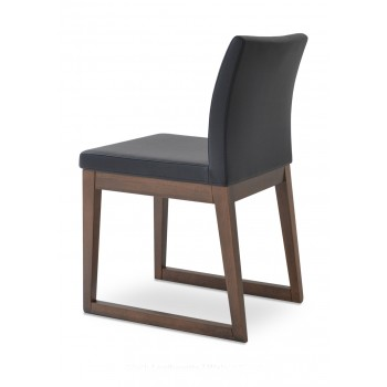 Aria Sled Wood Dininng Chair, Solid Beech Walnut Finish, Black Leatherette by SohoConcept Furniture