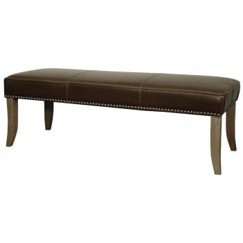 """Chloe Bonded Leather Bench 52"""", Weathered Smoke Legs, Vintage Brown by NPD (New Pacific Direct)"""