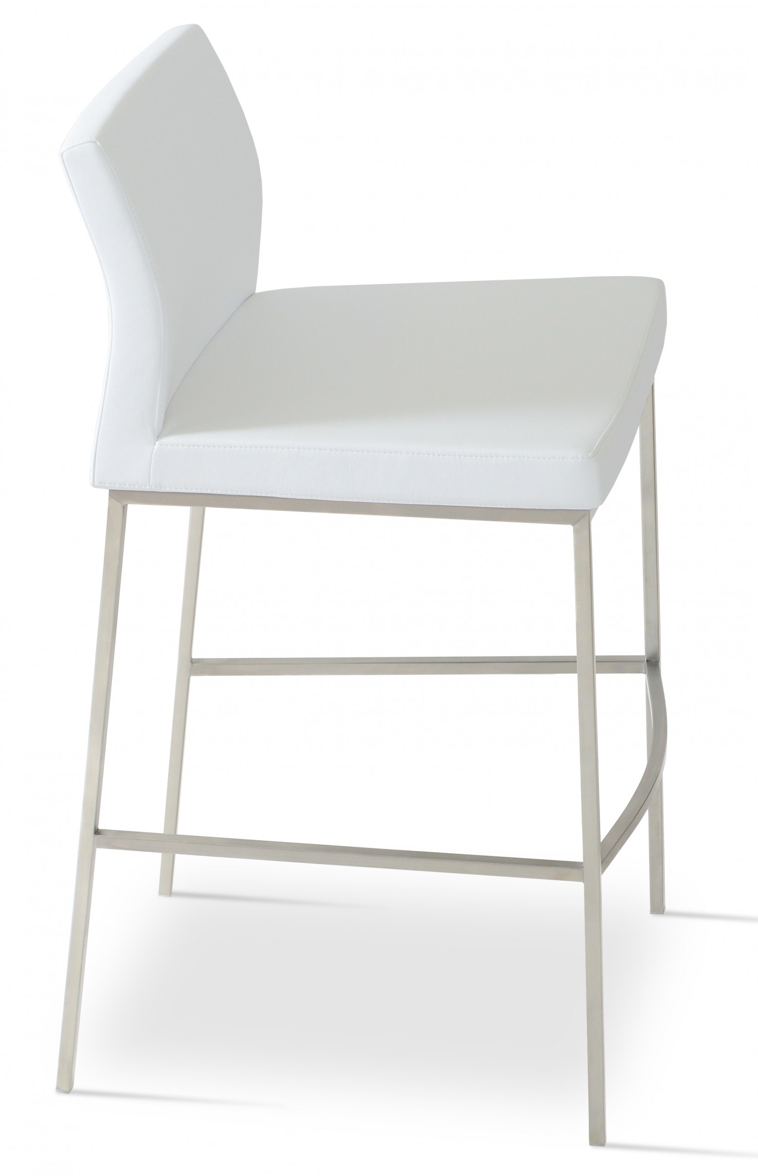 Terrific Pasha Chrome Bar Stool Stainless Steel White Leatherette Low Back Andrewgaddart Wooden Chair Designs For Living Room Andrewgaddartcom