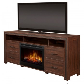Thom Media Console Electric Fireplace, Brown Finish, Realogs (DFR2551) Firebox