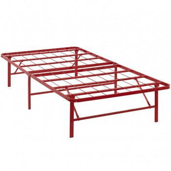 Horizon Twin Stainless Steel Bed Frame, Red by Modway