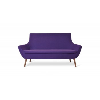 Rebecca Wood Two Seater, Walnut Finish, Collingwood Camira Wool by SohoConcept Furniture