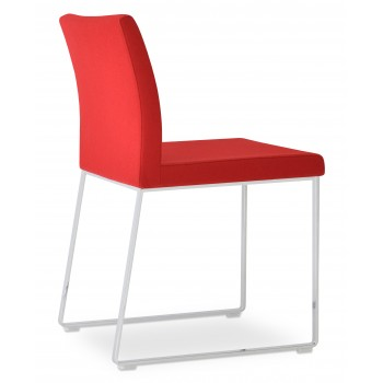 Aria Sled Dininng Chair, Red Camira Wool by SohoConcept Furniture