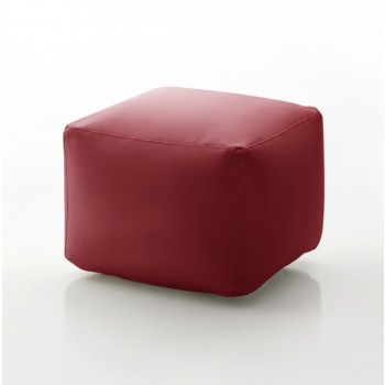 Truly Small Pouf, Burgundy Red Eco-Leather