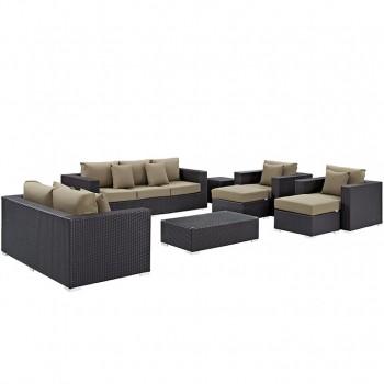 Convene 9 Piece Outdoor Patio Sofa Set, Espresso, Mocha by Modway