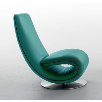 Ricciolo Chaise Lounge, Turquoise Blue Leather