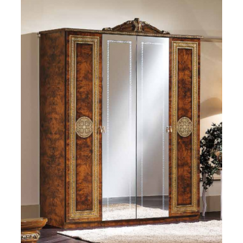 Alexandra 4-Door Wardrobe w/Mirror + Crown, Walnut