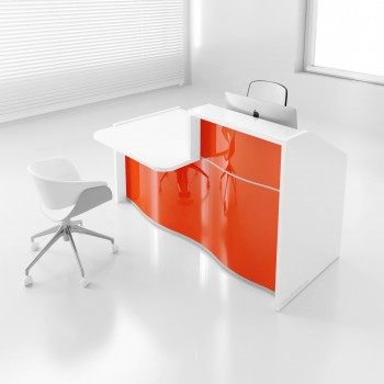 Wave LUV271P Reception Desk, High Gloss Orange