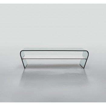 Amaranto Coffee Table with Extra Clear White Glass Shelf, Clear Transparent