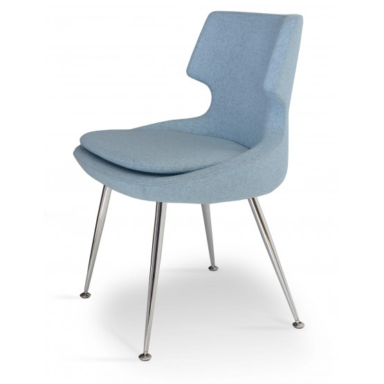 Patara Dining Chair, Chrome, Smoke Blue Camira Wool, Adjustable Foot Caps photo
