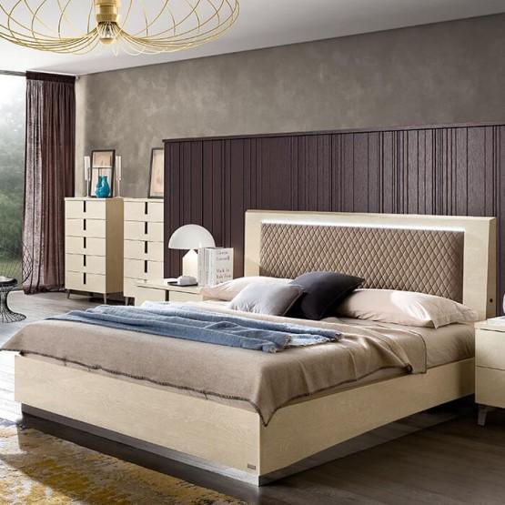 Ambra Rombi Queen Size Storage Bed, Brown Eco Nubuck photo