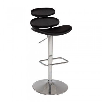 0642 Pneumatic Gas Lift Swivel Height Stool, Black by Chintaly Imports