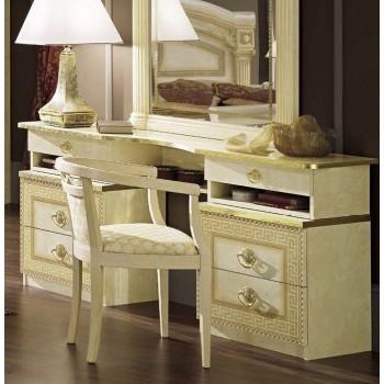 Aida Vanity Dresser, Ivory + Gold