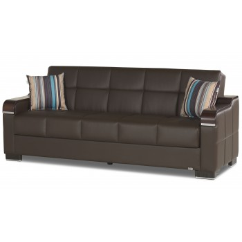 Uptown Sofa, Brown Leatherrette by Casamode
