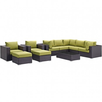 Convene 10 Piece Outdoor Patio Sectional Set, Espresso, Peridot by Modway