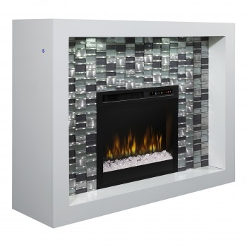 Crystal Mantel Electric Fireplace, White Finish, Acrlyic Ice (XHD28) Firebox
